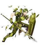 1boy armor armored_boots boots fire_emblem fire_emblem_echoes:_shadows_of_valentia fire_emblem_heroes forsyth_(fire_emblem) full_body gloves green_eyes green_hair highres injury official_art one_eye_closed polearm scar shield solo spear teeth torn_clothes transparent_background weapon