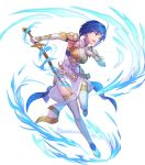 1girl arm_guards armor bangs blue_eyes blue_hair boots breastplate catria_(fire_emblem) dress elbow_gloves fire_emblem fire_emblem:_mystery_of_the_emblem fire_emblem_echoes:_shadows_of_valentia fire_emblem_heroes full_body gloves headband highres kakage short_hair shoulder_pads solo sword thigh-highs thigh_boots weapon white_footwear