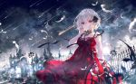 1girl album_cover bangs bare_arms bare_shoulders black_ribbon blurry blurry_foreground breasts building clouds cloudy_sky commentary_request cover depth_of_field dress eyebrows_visible_through_hair falling_star feathers fence hair_between_eyes hair_ribbon hand_up highres lamppost looking_at_viewer night night_sky onineko original outdoors red_dress red_eyes ribbon short_hair sky sleeveless sleeveless_dress small_breasts solo tower tree white_feathers white_hair