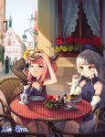 2girls 6+others ahoge azur_lane bangs bare_shoulders beret blunt_bangs blurry blurry_background blush body_markings breasts cake closed_mouth collared_dress cup day dress drinking_straw eating eyebrows_visible_through_hair food gloves hair_ornament hat highres holding holding_food holding_spoon iron_cross jacket logo long_hair mole mole_under_eye multiple_girls multiple_others official_art one-piece_swimsuit outdoors pink_hair pretzel satchely shade short_hair silver_hair single_glove sitting sleeveless sleeveless_dress small_breasts smile spoon swimsuit two_side_up u-81_(azur_lane) very_long_hair watermark white_gloves yellow_eyes z46_(azur_lane)