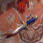 1girl blood bloody_weapon carpet dagger edelgard_von_hresvelg fire_emblem fire_emblem:_three_houses floral_print gauntlets hands highres kyufe on_floor out_of_frame spoilers weapon