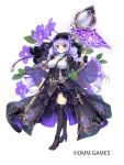 1girl belt black_dress black_footwear boots braid breasts closed_mouth corset dress flower flower_knight_girl full_body halloween highres holding holding_staff large_breasts long_hair looking_at_viewer magic mg_kurino object_namesake official_art purple_hair simple_background smile solo staff standing streptocarpus_(flower_knight_girl) thigh-highs thigh_boots twin_braids veil violet_eyes white_background zettai_ryouiki