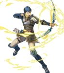 1boy arrow aura belt blue_hair boots bow_(weapon) brown_eyes fingerless_gloves fire_emblem fire_emblem_echoes:_shadows_of_valentia fire_emblem_heroes full_body gloves highres official_art open_mouth python_(fire_emblem) quiver solo suda_ayaka teeth transparent_background weapon
