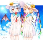 2girls alternate_costume alternate_headwear bare_arms bat_wings blonde_hair blue_sailor_collar blue_sky clouds commentary_request condensation_trail cute dated day dress eating eyebrows_visible_through_hair flandre_scarlet flower food food_in_mouth hair_between_eyes haruki_(colorful_macaron) hat hat_flower head_tilt holding holding_food holding_hands lens_flare light_blue_hair looking_at_viewer multiple_girls neckerchief outdoors partial_commentary popsicle red_eyes red_neckwear remilia_scarlet sailor_collar short_dress short_hair siblings side_ponytail signature sisters sky standing summer sun_hat sundress sunflower team_shanghai_alice touhou vampire watermelon_bar wings yellow_neckwear