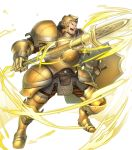 1boy armor armored_boots aura boots brown_eyes brown_hair fire_emblem fire_emblem_echoes:_shadows_of_valentia fire_emblem_heroes full_body gloves helmet highres male_focus official_art open_mouth polearm shield solo spear teeth transparent_background valbar_(fire_emblem) weapon