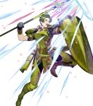 1boy armor armored_boots aura boots fire_emblem fire_emblem_echoes:_shadows_of_valentia fire_emblem_heroes forsyth_(fire_emblem) full_body gloves green_eyes green_hair highres official_art open_mouth polearm shield solo spear teeth transparent_background weapon
