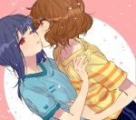 2girls blue_hair blush brown_hair hibike!_euphonium kiss long_hair medium_hair multiple_girls oumae_kumiko red_eyes torigara_cha yellow_eyes yoroizuka_mizore yuri