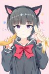 1girl animal_ears banana bangs bite_mark black_dress black_hair black_hairband bow cat_ears closed_mouth collarbone commentary_request dress eyebrows_visible_through_hair fake_animal_ears fingernails food fruit gomennasai hairband hands_up holding holding_food idolmaster idolmaster_cinderella_girls light_frown long_sleeves looking_at_viewer partial_commentary paw_background pink_background puffy_long_sleeves puffy_sleeves red_bow sexually_suggestive shirayuki_chiyo short_hair sidelocks simple_background solo translated upper_body violet_eyes