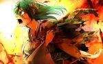 1girl angry bashou_(senran_kagura) blood broken_arm fire green_hair highres injury michihisa! senran_kagura senran_kagura_new_wave shouting tagme tears torn_clothes