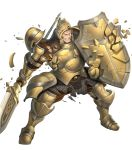 1boy armor armored_boots boots brown_eyes brown_hair fire_emblem fire_emblem_echoes:_shadows_of_valentia fire_emblem_heroes full_body gloves helmet highres injury official_art one_eye_closed polearm scar shield solo spear teeth torn_clothes transparent_background valbar_(fire_emblem) weapon