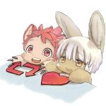 animal_ears bangs blush_stickers bongo_cat furry horizontal_pupils made_in_abyss meme mitty_(made_in_abyss) mitty_(made_in_abyss)_(furry) nanachi_(made_in_abyss) official_art open_mouth red_eyes redhead simple_background smile teeth tsukushi_akihito twitter whiskers white_background white_hair yellow_eyes