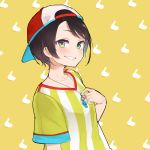 13o 1girl backwards_hat bangs baseball_cap bird black_hair blue_eyes blush brown_background collarbone duck grin hand_up hat highres hololive looking_at_viewer multicolored multicolored_eyes oozora_subaru shirt short_hair short_sleeves smile solo striped striped_shirt swept_bangs upper_body virtual_youtuber whistle whistle_around_neck yellow_background yellow_eyes yellow_shirt