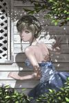 1girl absurdres back bare_shoulders blue_dress braid breasts crown_braid dappled_sunlight day dress grey_eyes hair_ornament highres large_breasts looking_back original outdoors princess shadow short_hair sidelocks standing sunlight tree www_(201548)