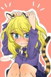 1girl animal_ears bc_freedom_school_uniform blonde_hair blue_eyes blush cardigan dtjin17 girls_und_panzer medium_hair messy_hair necktie oshida_(girls_und_panzer) school_uniform sweater tail