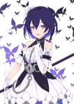 1girl :d asymmetrical_gloves bangs black_hair bug butterfly chain collarbone commentary_request detached_sleeves dress elbow_gloves eyebrows_visible_through_hair flower gloves hair_between_eyes hair_flower hair_ornament highres holding honkai_(series) honkai_impact_3rd insect jilu keyhole looking_at_viewer multicolored_hair open_mouth puffy_short_sleeves puffy_sleeves purple_hair seele_vollerei short_sleeves simple_background single_elbow_glove sleeveless sleeveless_dress smile solo two-tone_hair violet_eyes white_background white_dress white_flower white_gloves white_sleeves