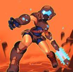 1boy alternate_costume angry armor belt blue_gloves blue_unitard boots breastplate chain_blades combos_&_doodles commentary constricted_pupils crossover crotch_plate doom_(2016) doom_(game) energy_sword english_commentary epic faulds full_body gloves helmet highres knee_boots knee_pads link loose_belt male_focus neon_trim one_eye_covered orange_background parody pointy_ears shiny shiny_skin single_pauldron solo sword the_legend_of_zelda the_legend_of_zelda:_breath_of_the_wild thighs unitard vambraces visor weapon