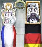 2girls absurdres blonde_hair charlotte_dunois closed_eyes coffin corpse eyepatch feet flower french_flag funeral german_flag gun handgun hat hat_ribbon highres huge_filesize infinite_stratos laura_bodewig lazy_tiger long_hair multiple_girls pale_skin pistol pixiv_id_77399459 ponytail ribbon silver_hair silver_ribbon weapon white_headwear