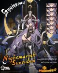 1girl alternate_costume azur_lane black_footwear black_legwear blue_eyes boots breasts character_name commentary covered_navel cross demon_horns demon_tail english_commentary english_text expression_chart glasses gneisenau_(azur_lane) halloween halloween_costume highres hood horns lantern large_breasts leotard long_hair navel ntrsis official_art pubic_tattoo purple_hair rectangular_eyewear see-through semi-rimless_eyewear skeleton smile tail tattoo thigh-highs thigh_boots thigh_gap thighs under_boob underboob_cutout very_long_hair whip