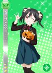 black_hair blush character_name dress long_hair love_live!_school_idol_festival love_live!_school_idol_project red_eyes smile wink yazawa_nico