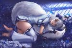 1girl animal_ear_fluff animal_ears aqua_eyes arm_guards bangs barefoot black_gloves blue_shorts blush bow breasts bug butterfly china_dress chinese_clothes dress fingerless_gloves flower fox_ears fox_tail gloves hair_between_eyes hair_bow insect javier_estrada leggings light_particles looking_at_viewer lying medium_breasts on_side original parted_lips purple_bow short_shorts shorts sidelocks signature solo tail tail_hug thighs toes white_flower white_hair