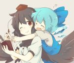 2girls bird_wings black_hair black_neckwear blue_dress blue_hair blush_stickers bow bowtie cirno closed_eyes commentary_request dress eyebrows_visible_through_hair fang feathered_wings fountain_pen grey_background hair_between_eyes hair_bow hat heart holding holding_pen hug hug_from_behind kototoki leaning_on_person looking_at_viewer multiple_girls notebook one_eye_closed open_mouth outstretched_arms pen pinafore_dress puffy_short_sleeves puffy_sleeves red_eyes red_headwear shameimaru_aya shirt short_hair short_sleeves simple_background smile tokin_hat touhou upper_body white_shirt wings yuri