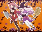 2girls axe blush bow breasts broom candy castle earrings fang fire_emblem fire_emblem:_fuukasetsugetsu fire_emblem:_three_houses fire_emblem_heroes ghost gloves hair_bow halloween halloween_costume hilda_valentine_goneril hotariin intelligent_systems koei_tecmo loli long_hair lysithea_von_ordelia moe nintendo pink_eyes pink_hair pumpkin ribbon super_smash_bros. teenage twintails weapon white_hair witch_hat