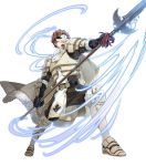 1boy 88_taho armor armored_boots aura boots cape conrad_(fire_emblem) fire_emblem fire_emblem_echoes:_shadows_of_valentia fire_emblem_heroes full_body fur_trim gloves highres mask official_art open_mouth orange_hair polearm scarf solo spear teeth transparent_background weapon