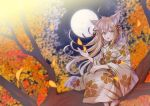 1girl ahoge animal_ear_fluff animal_ears autumn autumn_leaves blurry brown_eyes brown_hair brown_kimono commentary_request depth_of_field floating_hair floral_print fox_ears full_moon hair_ribbon japanese_clothes kimono leaf leaves_in_wind long_hair long_sleeves looking_at_viewer moon myusha night open_mouth original outdoors print_kimono ribbon sitting solo tree_branch wide_sleeves zouri