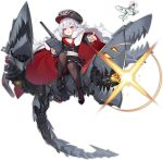 1girl artist_request azur_lane black_headwear black_legwear full_body graf_zeppelin_(azur_lane) hat long_sleeves looking_at_viewer military military_hat military_uniform multicolored_hair official_art pantyhose peaked_cap pointing pointing_at_viewer red_eyes rigging silver_hair streaked_hair thighband_pantyhose transparent_background uniform zeppelin-chan_(azur_lane)