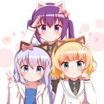 3girls animal_ears arm_up bangs black_shirt blazer blonde_hair blue_dress blue_eyes blue_hair blush bow braid brown_hairband cat_ears closed_mouth collarbone collared_shirt commentary_request dress eyebrows_visible_through_hair fake_animal_ears flower gochuumon_wa_usagi_desu_ka? goth_risuto green_eyes grey_neckwear grey_skirt hair_between_eyes hair_bow hair_flower hair_ornament hairband hand_up hood hood_down hooded_jacket jacket kafuu_chino kafuu_chino's_school_uniform kirima_sharo long_hair low_twintails multiple_girls necktie open_clothes open_jacket paw_pose plaid plaid_neckwear plaid_skirt purple_hair red_bow school_uniform shirt skirt smile striped striped_bow tedeza_rize tedeza_rize's_school_uniform twin_braids twintails upper_body v violet_eyes white_background white_flower white_jacket x_hair_ornament