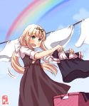1girl alternate_costume alternate_hairstyle artist_logo black_ribbon blonde_hair blue_sky blush clothesline clouds commentary_request cowboy_shot dated day green_eyes hair_ribbon highres holding_clothes kanon_(kurogane_knights) kantai_collection laundry laundry_basket long_hair looking_at_viewer low_twintails outdoors rainbow ribbon sky solo standing straight_hair twintails white_background yuudachi_(kantai_collection)