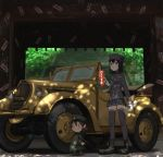 2girls :| akitsu_maru_(kantai_collection) annin_musou black_eyes black_footwear black_hair black_headwear black_jacket black_legwear black_skirt boots cape car chibi closed_mouth commentary_request dappled_sunlight fairy_(kantai_collection) frown gloves ground_vehicle gun hair_between_eyes hat holding holding_gun holding_paper holding_weapon jacket kantai_collection long_sleeves military military_uniform miniskirt motor_vehicle multiple_girls ofuda pale_skin paper peaked_cap pleated_skirt short_hair size_difference skirt stairs standing sunlight thigh-highs torii uniform v-shaped_eyebrows vehicle_request weapon white_gloves wide_shot zettai_ryouiki