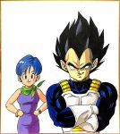 1boy 1girl armor black_eyes black_hair blue_eyes blue_hair bulma crossed_arms dragon_ball dragon_ball_super dress earrings gloves hands_on_hips highres husband_and_wife jewelry lee_(dragon_garou) marker_(medium) muscle neckerchief purple_dress short_hair smile stud_earrings traditional_media vegeta watch watch white_gloves wrist_cuffs