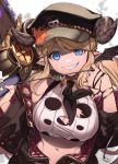 blonde_hair blue_eyes breasts chainsaw cleavage_cutout draph feb_itk granblue_fantasy grin hairlocs hallessena hat highres horns large_breasts military_hat pointy_ears saw smile