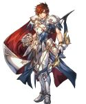 1boy alternate_costume armor armored_boots arrow boots bow_(weapon) brown_hair cape fingerless_gloves fire_emblem fire_emblem:_genealogy_of_the_holy_war fire_emblem:_thracia_776 fire_emblem_heroes full_body gloves highres hino_shinnosuke leif_(fire_emblem) male_focus official_art orange_eyes quiver solo transparent_background weapon