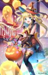 1girl :d bangs bare_shoulders blonde_hair blue_eyes blunt_bangs blush bow brown_gloves building candy candy_cane candy_wrapper commentary_request copyright_request dress elbow_gloves eyebrows_visible_through_hair food ghost gloves hair_rings halloween halloween_basket hat highres holding lollipop long_hair momoshiki_tsubaki official_art open_mouth orange_dress orange_headwear outdoors railing sleeveless sleeveless_dress smile solo swirl_lollipop twintails very_long_hair water watermark window witch_hat yellow_bow