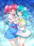 2girls :d ahoge aqua_gloves bangs blue_eyes blue_hair blue_hairband blunt_bangs closed_mouth commentary_request eyebrows_visible_through_hair gloves hagoromo_lala hairband highres hoshina_hikaru hug jewelry looking_at_viewer multiple_girls nakahira_guy open_mouth pendant precure redhead short_hair single_glove smile star star-shaped_pupils star_twinkle_precure symbol-shaped_pupils twintails v