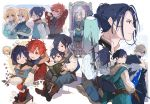 1girl 5boys alternate_costume arms_up belt black_hair blonde_hair blue_eyes book brothers brown_eyes brown_gloves closed_eyes closed_mouth coat dimitri_alexandre_blaiddyd eyepatch father_and_son felix_hugo_fraldarius fire_emblem fire_emblem:_three_houses flowerchorus from_side fur_trim gloves green_eyes holding holding_book hood hood_down ingrid_brandl_galatea long_hair long_sleeves looking_back multiple_boys one_eye_closed open_book open_mouth redhead rodrigue_achille_fraldarius scabbard sheath sheathed short_hair siblings sitting sword sylvain_jose_gautier weapon younger