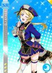 ayase_eli blonde_hair blue_eyes blush character_name hat jacket long_hair love_live!_school_idol_festival love_live!_school_idol_project ponytail smile wink