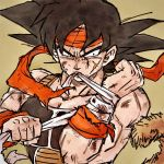 1boy armor bandaged_wrist bandages bardock biting black_eyes black_hair clenched_hands close-up collarbone commentary_request dirty dirty_face dragon_ball dragon_ball_z facial_scar fingernails frown highres injury looking_to_the_side male_focus monkey_tail muscle scar scar_on_cheek scratches sepia_background serious simple_background spiky_hair tail tkgsize torn_clothes upper_body wristband