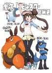 1girl bangs black_legwear blue_eyes blush breasts brown_hair character_name copyright_name double_bun full_body gen_1_pokemon gen_4_pokemon gen_5_pokemon holding holding_poke_ball kasa legwear_under_shorts long_hair magnemite mei_(pokemon) open_mouth pantyhose pignite poke_ball poke_ball_symbol pokemon pokemon_(game) pokemon_bw2 raglan_sleeves riolu shoes shorts simple_background twintails visor_cap white_background yellow_shorts