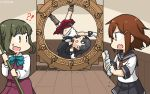 !? 3girls agano_(kantai_collection) anchor_symbol asymmetrical_legwear black_hair black_neckwear black_sailor_collar black_skirt bob_cut brown_eyes brown_hair commentary_request cowboy_shot dated dress fang full_body garter_straps gloves green_hair hair_ornament hairclip hallway hamu_koutarou highres ikazuchi_(kantai_collection) kantai_collection long_hair long_sleeves midriff mop multiple_girls neckerchief necktie o_o parody pleated_skirt red_neckwear red_skirt sailor_collar school_uniform serafuku shirt short_hair short_hair_with_long_locks sidelocks single_thighhigh skirt sleeveless sleeveless_dress takanami_(kantai_collection) thigh-highs wheel white_gloves white_shirt wooden_floor wringing x_navel