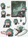 +++ 1girl :d afterimage braid bug cecile_(porforever) chameleon_tail chameleon_tongue chibi chromatic_aberration commentary dagger directional_arrow drakeposting english_commentary expressions food grasshopper green_hair grey_background hair_between_eyes hairband heart heart_of_string highres insect long_tongue medium_hair meme multiple_views open_mouth original pointing pointing_at_self porforever red_eyes side_braid simple_background smile steak tail tongue tongue_out very_long_tongue wall-eyed weapon