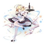 1girl ahoge alternate_costume apron azur_lane black_dress black_gloves blonde_hair bottle bow bowtie closed_mouth commentary_request cup dress drinking_glass gloves green_eyes high_heels highres holding holding_tray looking_at_viewer maid maid_apron maid_headdress pantyhose short_hair short_sleeves solo southampton_(azur_lane) tray vilor white_legwear wine_bottle wine_glass