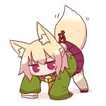 1girl all_fours animal_ear_fluff animal_ears bangs bell bell_collar blonde_hair blush brown_collar brown_footwear collar eyebrows_visible_through_hair fox_ears fox_girl fox_tail green_shirt hair_bun hair_ornament jingle_bell kemomimi-chan_(naga_u) long_hair long_sleeves motion_lines naga_u orange_neckwear original pleated_skirt purple_skirt red_eyes ribbon-trimmed_legwear ribbon_trim sailor_collar shadow shirt sidelocks skirt sleeves_past_fingers sleeves_past_wrists solo tail tail_raised thigh-highs white_background white_legwear white_sailor_collar zouri