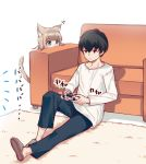 1boy 1girl 40hara animal_ear_fluff animal_ears aqua_eyes bangs black_hair blonde_hair blunt_bangs cat_ears cat_tail closed_mouth commentary_request eyebrows_visible_through_hair holding_game_controller kinako long_sleeves on_floor original panties playing_games shirt sitting slippers tail underwear white_shirt