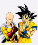 2boys bald black_eyes black_hair cape clenched_hand collarbone dougi dragon_ball dragon_ball_z gloves highres lee_(dragon_garou) male_focus marker_(medium) multiple_boys muscle one-punch_man open_mouth red_gloves saitama_(one-punch_man) smile son_gokuu traditional_media white_background wristband zipper