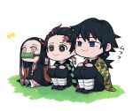 1girl 2boys :> bamboo bangs bit_gag black_hair black_legwear blue_eyes brown_eyes brown_hair checkered chibi closed_mouth earrings empty_eyes facial_scar full_body gag grass hair_ribbon hair_slicked_back haori japanese_clothes jewelry kamado_nezuko kamado_tanjirou kimetsu_no_yaiba kimono kimoto624 knees_up leg_wrap long_hair long_sleeves looking_away mouth_hold multicolored_hair multiple_boys obi on_ground outstretched_leg pants pink_eyes pink_kimono pink_ribbon ribbon sash scar side-by-side sword tabi tomioka_giyuu two-tone_hair uniform very_long_hair waraji weapon white_background white_legwear