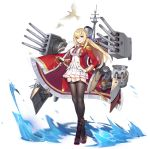 1girl animal azur_lane badge bangs bird black_footwear black_legwear blonde_hair blue_ribbon boots braid breasts buttons cape crossed_legs dove enka_(bcat) epaulettes full_body fur_trim garter_straps hair_between_eyes hair_ribbon hand_on_hilt hand_on_hip jacket jewelry king_george_v_(azur_lane) knee_boots large_breasts long_hair long_sleeves machinery mast medal military military_uniform miniskirt official_art open_mouth pleated_skirt red_cape red_eyes red_jacket ribbon ring rudder_footwear saber_(weapon) sheath sheathed shirt sidelocks skirt smile smokestack solo standing sword tassel thigh-highs transparent_background turret undershirt uniform water watson_cross weapon white_shirt white_skirt zettai_ryouiki