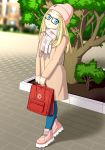 1girl 2019 backpack bag black-framed_eyewear blonde_hair blue_eyes coat glasses hat headgear headwear long_hair long_sleeves looking_at_viewer md5_mismatch neonway original pants pavement road scarf scenery shoes smile sneakers street tree winter_clothes